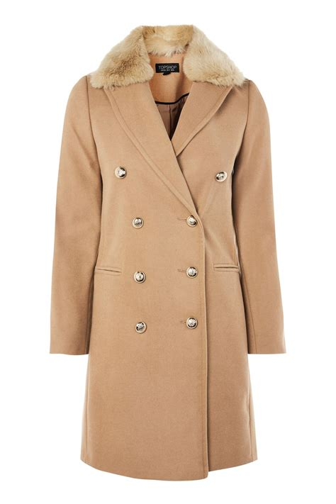 Faux Fur Collar Coat faux fur collar coat topshop