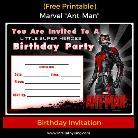 marvel birthday card template free marvel ant printable birthday invitation