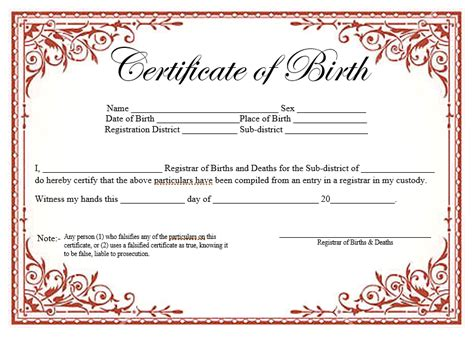 birth certificate template 14 free birth certificate templates ms word pdfs