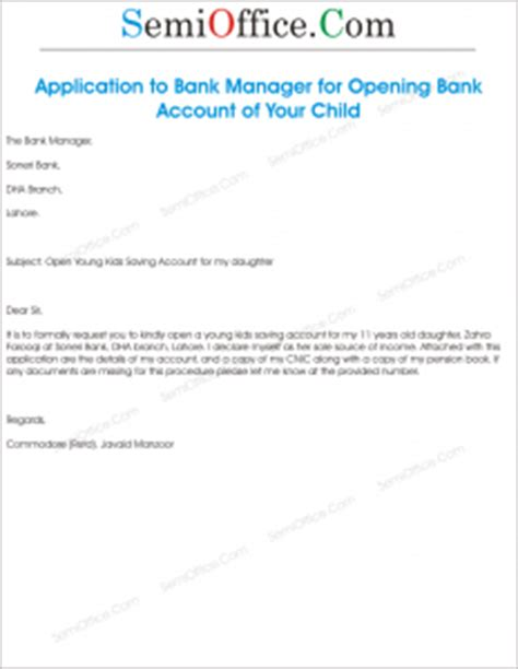 Bank Letter Sle Open Account Application To Bank Manager For Opening Account