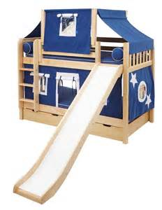 Full Size Loft Bed Plans Maxtrix Playhouse Tent Bunk Bed W Slide Blue White On