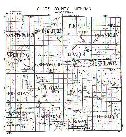Clare County Records Clare County Michigan Township Plattings 1899