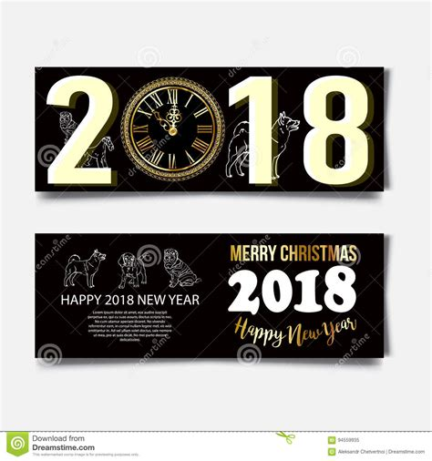 new year 2018 year of the meaning new year of the 2018 text vector illustration