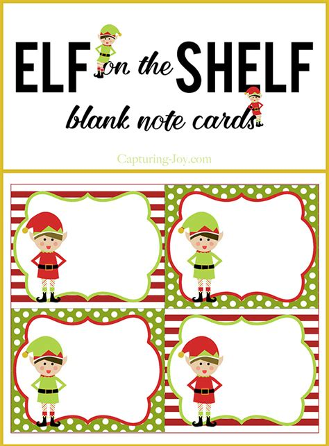 free printable elf name tags elf on a shelf blank note cards capturing joy with