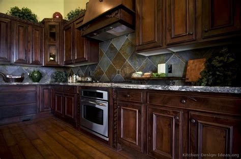 backsplash ideas for dark cherry cabinets kitchen idea of the day traditional dark cherry stained