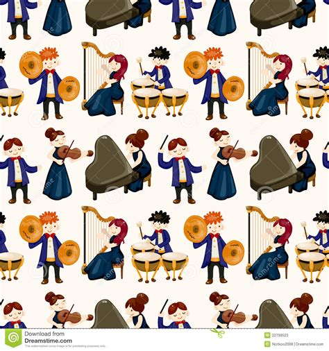 video player pattern orchestra music player seamless pattern stock vector
