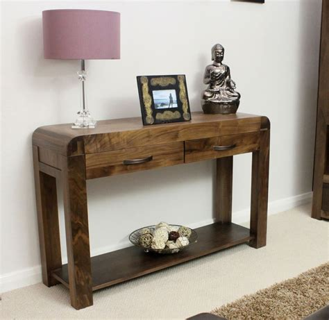 Wooden Hallway Table Shiro Solid Walnut Wood Hallway Furniture Console Table Ebay