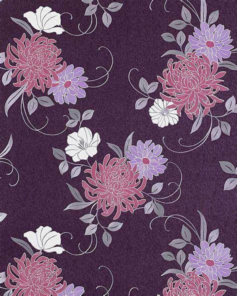 wallpaper grey and lilac edem 824 29 wallpaper embossed flower violet syringa lilac