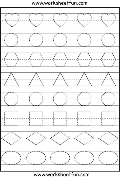 printable tracing shapes worksheets shape tracing kindergarten worksheets pinterest