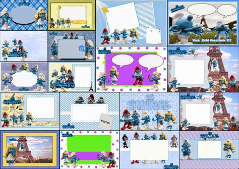 tarjetas infantiles para imprimir con marcos pitufos invitaciones o marcos para imprimir gratis