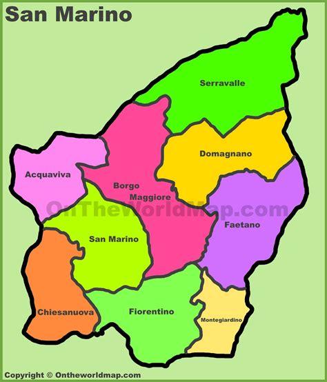 san marino on world map administrative divisions map of san marino