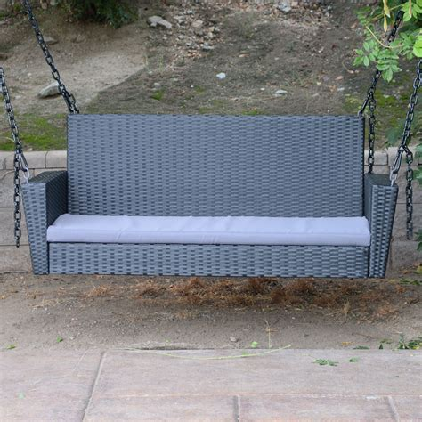 porch hangers black 54 5 quot patio porch swing chair bench resin wicker