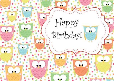 printable birthday cards cute cute owl birthday printable card instant download b