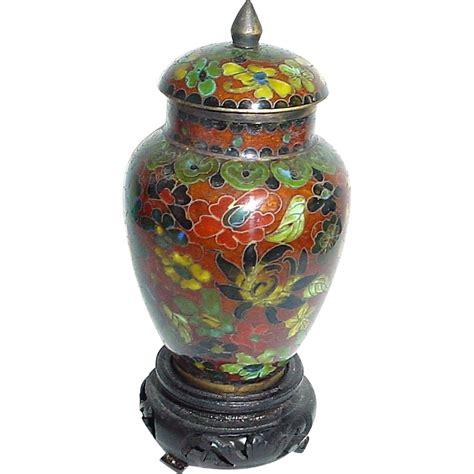 vintage miniature cloisonne covered vase or urn