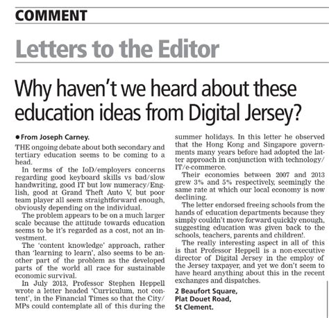 Financial Times Letter To The Editor Professor Stephen Heppell S Reply To The Jep Letter To The Editor News Digital Jersey