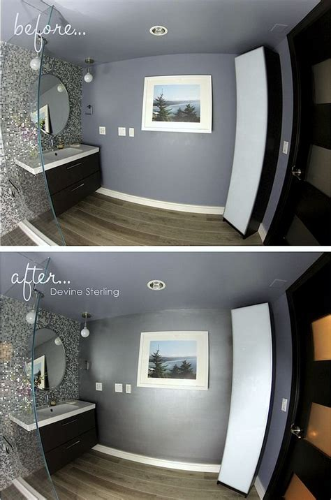 metallic paint bathroom accent wall and bathroom accents on