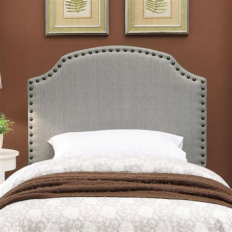 gray nailhead headboard white bed with cut out headboard products bookmarks