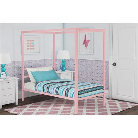 twin size canopy bed frame dhp modern metal canopy twin size bed frame in pink 4073719 the home depot