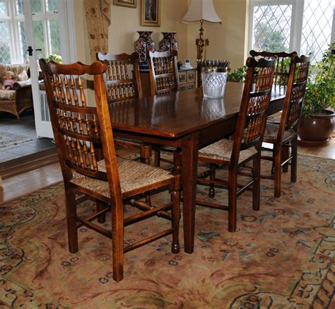 oak kitchen dining set refectory table spindleback chairs