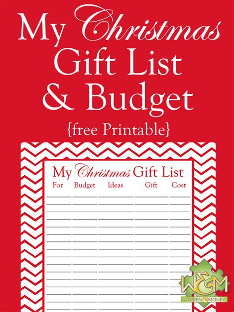 christmas gift list and budget printable women and money