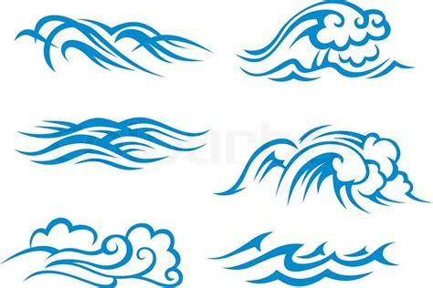 cartoon wave tattoo surf wellen vektorgrafik colourbox