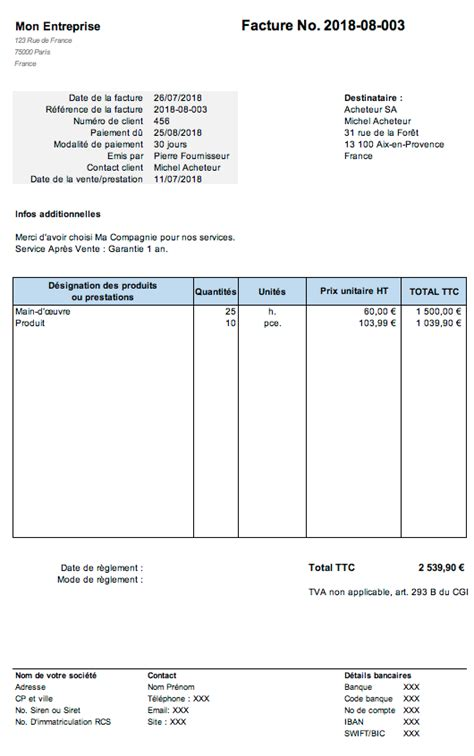 Modele Facture Sans Tva editer une facture en ligne auto entrepreneur mod 232 les