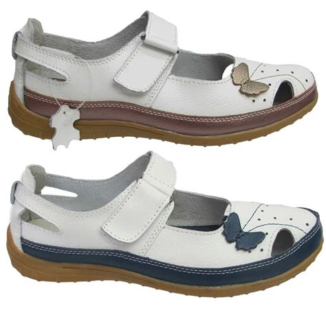shoe type for flat womens leather velcro style flat