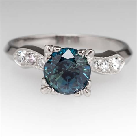 blue green sapphire engagement blue green no heat sapphire in a 1950 s platinum mounting