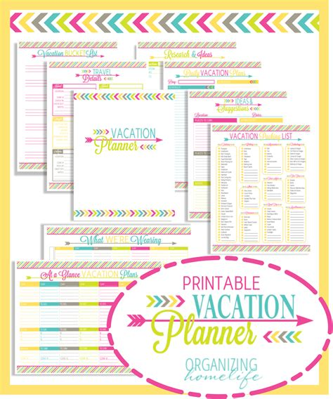 printable vacation planners cute printable travel itinerary template calendar
