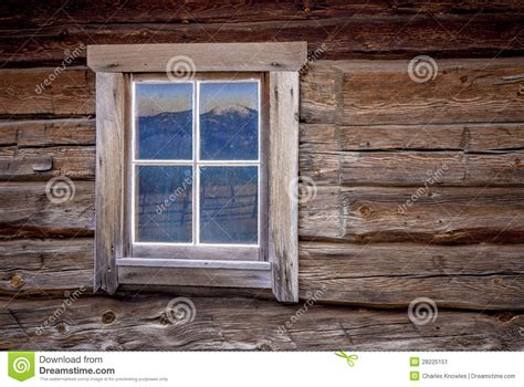 Rustic Log House Plans Log Cabin Window With Mountain Reflection Stock Image