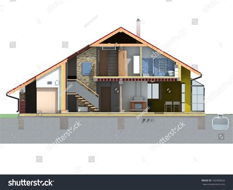 section of a house front and section view of a house with pitched roof on