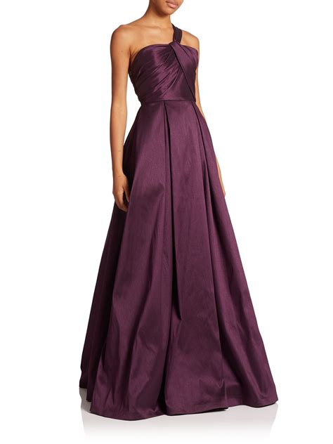 bariano draped shoulder gown lyst ml monique lhuillier one shoulder draped gown in purple