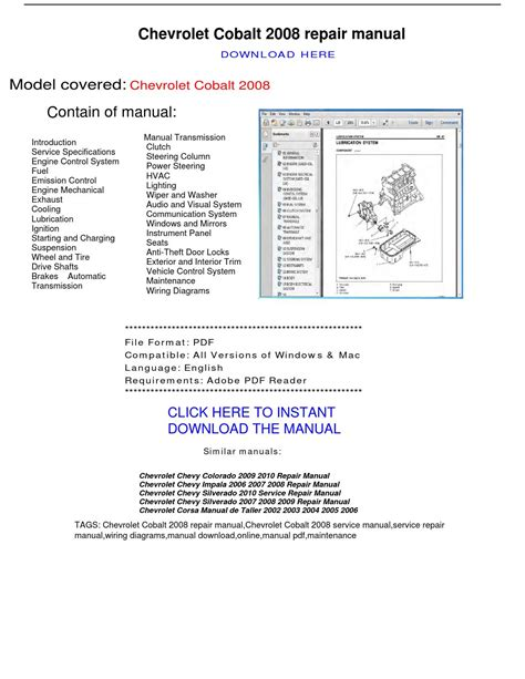 online auto repair manual 2003 chevrolet corvette instrument cluster chevrolet cobalt 2008 repair manual by repairmanualpdf issuu