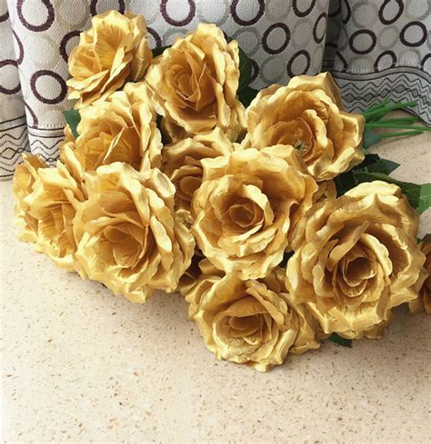Rangkaian Bunga Artificial Camelia 16pcs single stalk camellia roses gold silver colors for wedding centerpieces home