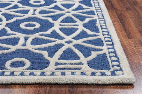 luniccia modern circles pattern wool area rug in blue