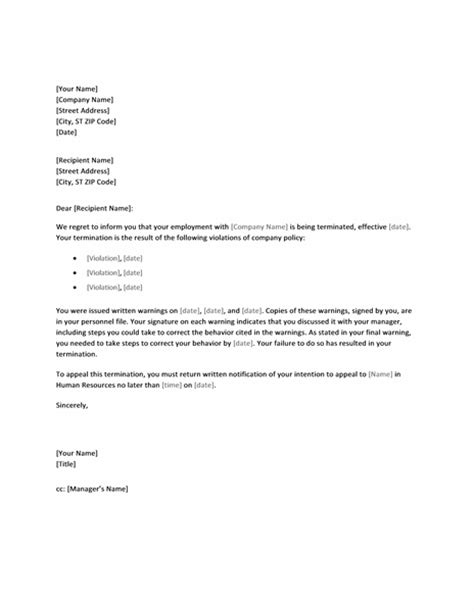 Termination Letter For Of Company Policy Letter Of Termination Due To Policy Printable Forms Letters Sheets