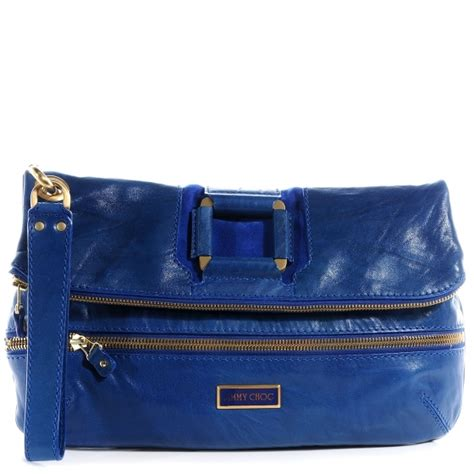 Jimmy Choo Mave Clutch 2 by Jimmy Choo Leather Mave Foldover Clutch Electric Blue 59917