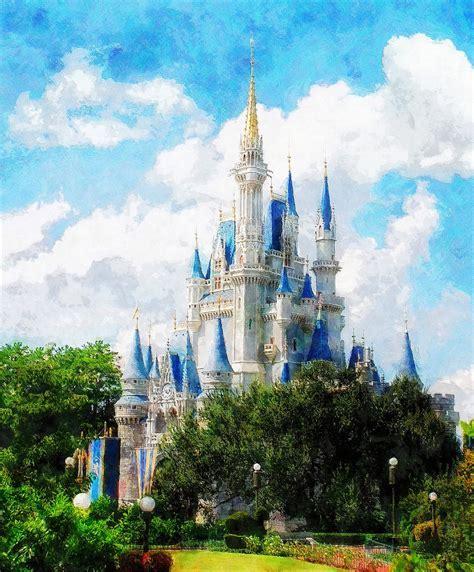 Cinderella Duvet Cover Cinderella Castle Painting By Sandy Macgowan
