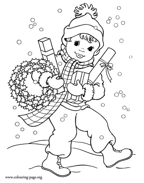 boy christmas coloring page christmas boy with some gifts and a christmas garland