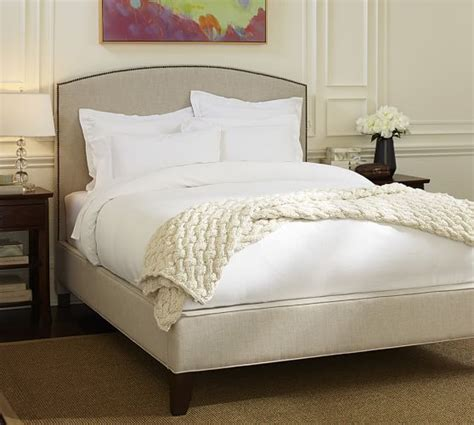 pottery barn bed fillmore curved upholstered tall bed headboard pottery