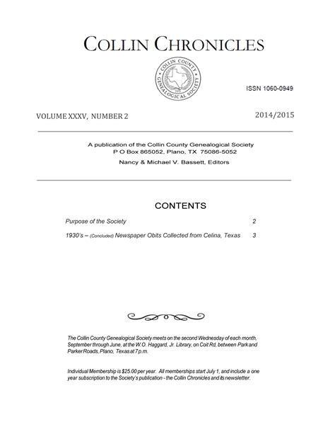 Collin County Property Records Collin Chronicles Volume 35 Number 2 2014 2015 The