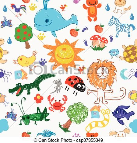 doodle animals vector free eps vector of childrens drawing doodle animals trees and
