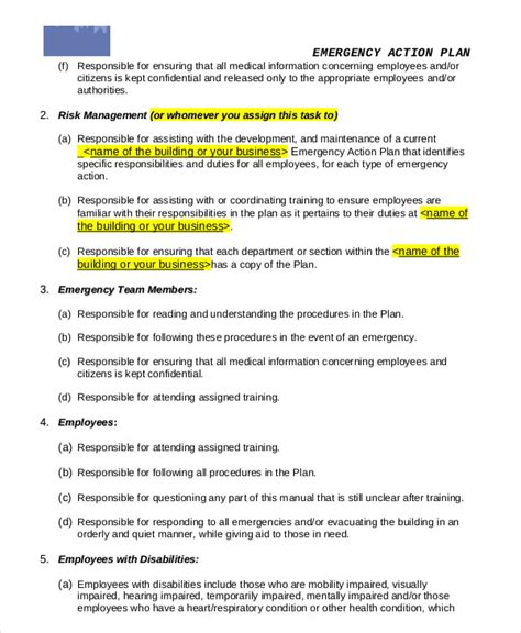 emergency plan template for businesses emergency plan template 9 free sle exle