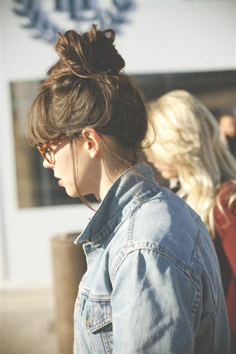 images of a messy bun with bang no hair out 18 best straight across bangs images on pinterest