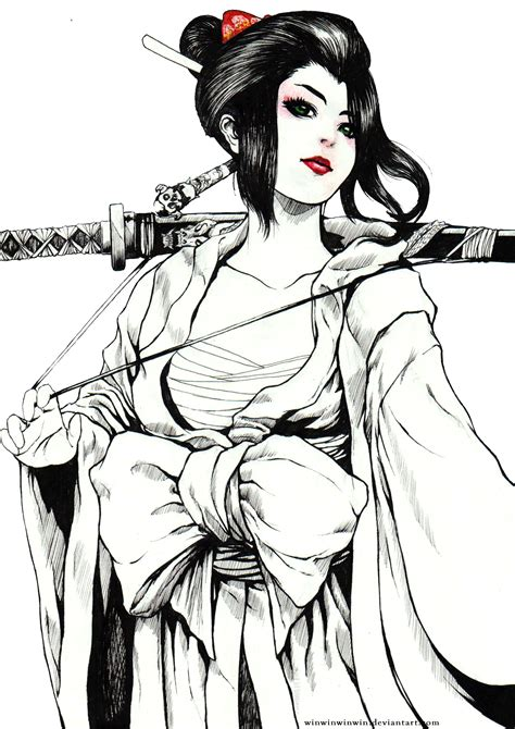 Geisha Warrior Tattoo Drawings | geisha warrior drawings