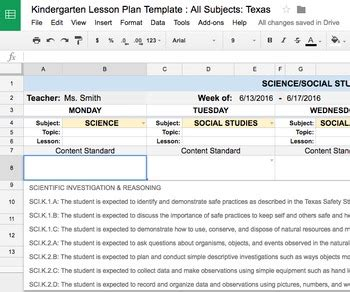 lesson plan template kindergarten all subjects w all