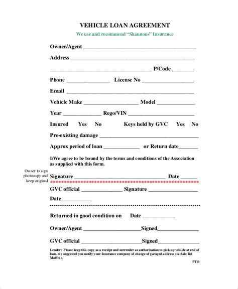 car loan agreement template sle loan agreement form 10 exles in word pdf