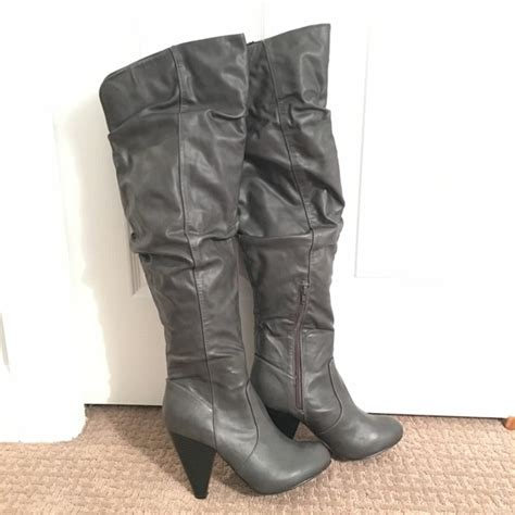 g by guess guess the knee grey high heel boots from