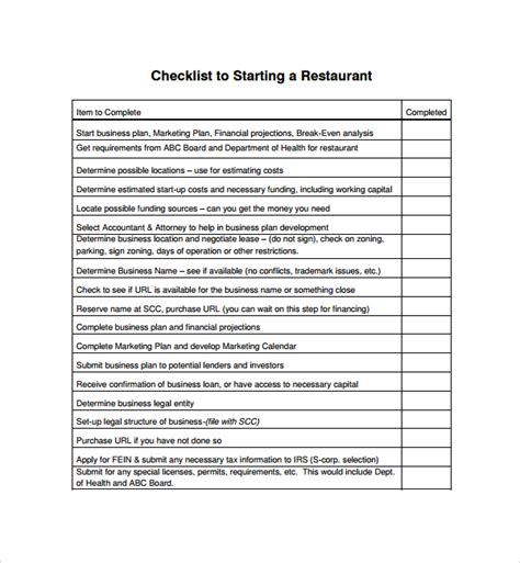 restaurant checklist template sle restaurant checklist template 14 free documents