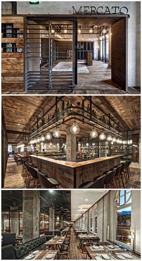 rustic industrial 4square designs mercato restaurant interior design bar ideas
